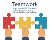 Teamwork concept. Three businessman holds puzzles in hand. Business metaphor abstract background. Pieces together partnership. Vector illustration flat style. Working together cooperation, combining. poster