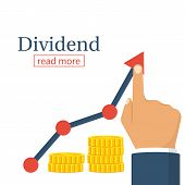 Dividend concept. Profit Stock Market. Man hold in hand business chart. Improve growth graph. Vector illustration flat design. Financial diagram. Profit growth, investment concept. Save up money. poster