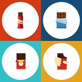 Flat Icon Chocolate Set Of Shaped Box, Sweet, Chocolate Bar And Other Vector Objects. Also Includes Bitter, Confection, Chocolate Elements. poster