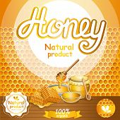 Natural honey advertising for retail. Glass honey jar, honeycomb and honey stick on wooden table. Organic and tasty product, traditional and healthy vegan food, sweet delicacy vector illustration. poster