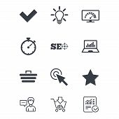 Internet, seo icons. Bandwidth speed, online shopping and tick signs. Favorite star, notebook chart symbols. Customer service, Shopping cart and Report line signs. Online shopping and Statistics poster