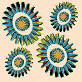 Colorful gear wheels are featured in an abstract background vector illustration. poster