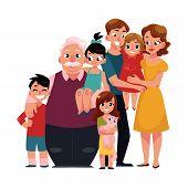 Family portrait - parents, children, grandfather, grandchildren hugging each other, cartoon vector illustration on white background. Full length portrait of family members standing together, hugging poster