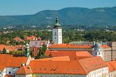 Panoramic view of historic upper town in Zagreb, capital of Croatia poster