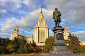 M.V.Lomonosov monument in front of Main building of Moscow State University, Moscow, Russia poster