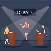two politician debate on stage podium public speaking contest presentation with moderator between them vector poster