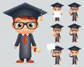 Graduation Cap Excellent Diploma Certificate Student Scroll Genius School Clever Smart Boy Uniform Suit Goggles 3d Character Vector Illustration poster