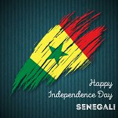 Senegal Independence Day Patriotic Design. Expressive Brush Stroke in National Flag Colors on dark striped background. Happy Independence Day Senegal Vector Greeting Card. poster