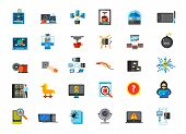 Computer icon set. 3d-printing concept Data center concept Network concept Drawing tablet Bioprinter Server maintenance Socket Usb Catalog Engineer Hacking Password Question Inspection Web camera poster