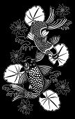 Vector illustration of Koi fishes in traditional Japanese ink style poster