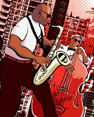 Vector illustration of a saxophonist and  bassist on grunge city background poster