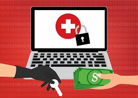 Hand holding money banknote for paying the key to hacker for unlock Healthcare Data got ransomware malware virus computer. Vector illustration technology cyber crime data privacy and security concept.
