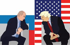 July, 2017: Russian President Vladimir Putin and US president Donald Trump met and had negotiations during G20 Summit in Hamburg on 7th July, 2017.