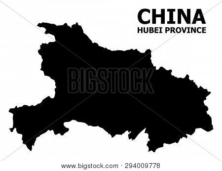 Vector Map Of Hubei Province With Title. Map Of Hubei Province Is Isolated On A White Background. Si