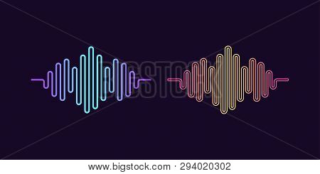 Set Signs Of Digital Sound Wave. Vector Illustration Of Abstract Music Wave Shape With Gradients. Wa