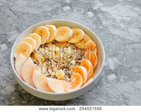Healthy Breakfast. Close-up, Top View, Isolated Background. Concept Of Healthy And Tasty Food. Fitne