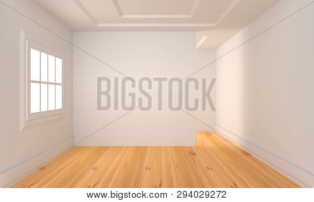 Empty Room With Wood Flooring .3d Rendering.
