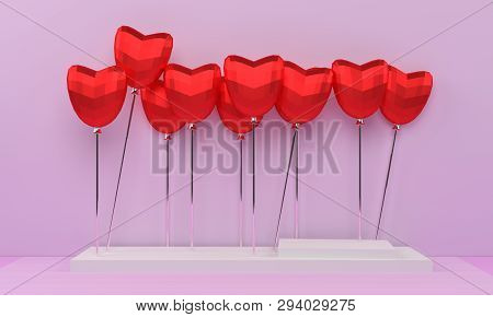 3d Render Of Red Heart ,3d Illustration  Modern Heart 3d.