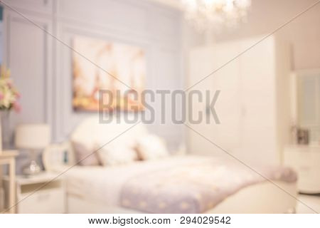 Defocus Background Of Bedroom Interior. While Tone Color