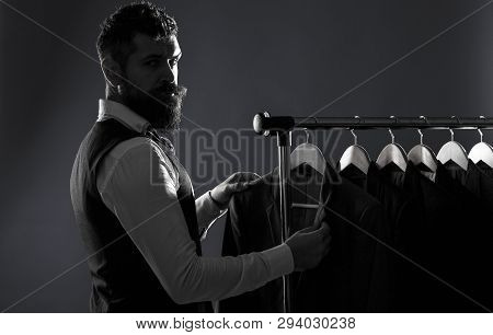 Mens Lothing, Shopping In Boutiques. Tailor, Tailoring. Man Suit, Tailor In His Workshop. Elegant Ma