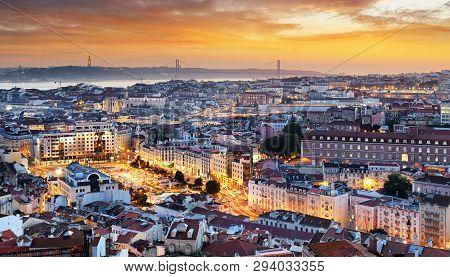 Lisbon - Lisboa Cityscape, Portugal At Night