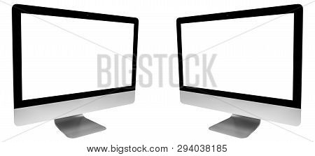 Set Of Two Laptop Computer Pc With Blank Screen Mock Up Isolated On White Background. Laptop Isolate