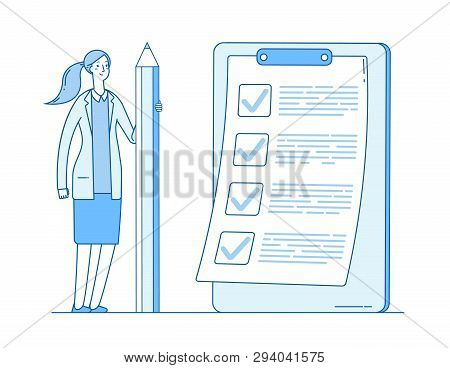 Woman With Checklist. Complete Business List. Girl Holding Pencil. Successful Task Check Mark Comple