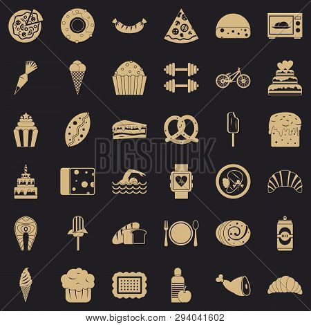 Calories in croissant icons set. Simple style of 36 calories in croissant vector icons for web for any design poster