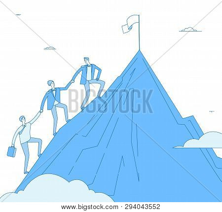 Men Climb Mountain. Success Leader With Team Go Up Top Successful Winner. Business Reaching, Leaders