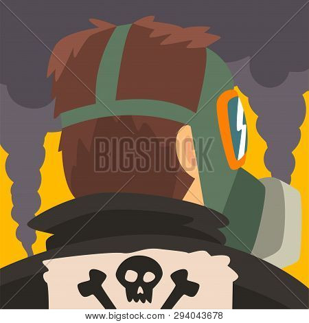 Man Wearing Protective Mask Suffering From Fine Dust, Industrial Smog, Man On Background Of Industri