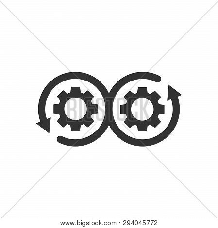 Development Icon In Flat Style. Devops Vector Illustration On White Isolated Background. Cog With Ar