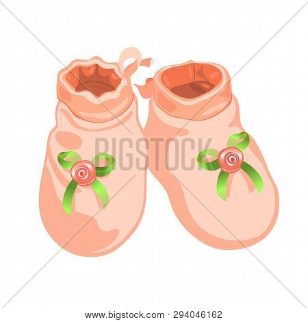 Cute Pink Baby Booties For Girl, Realistic Vector Illustration.