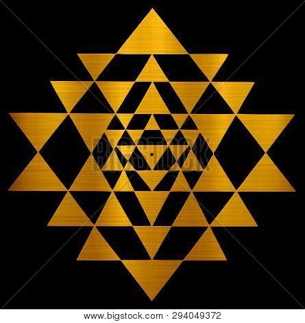 Mandala Sri Yantra Chakra Tantra Spirituality Esoteric Zen Illustration Golden Metallic