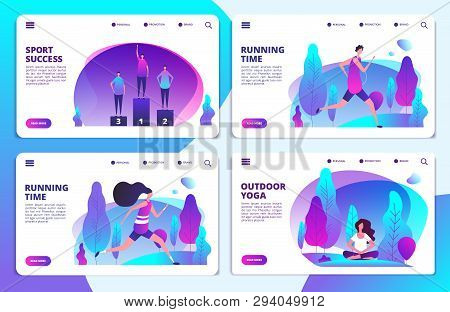Sport Life Landing Page Templates. Vector Yoga, Running, Sport Success Web Banners. Relaxation Lifes