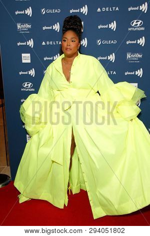LOS ANGELES - MAR 28:  Lizzo at the 30th Annual GLAAD Media Awards at the Beverly Hilton Hotel on March 28, 2019 in Los Angeles, CA