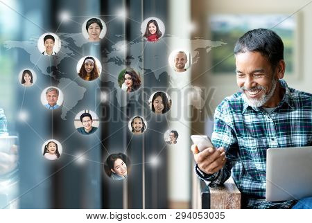 Social Media Network,  Global Network Connection And People Connecting All Over The World Map. Smili