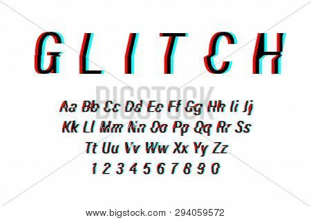 Glitch Font On White Background. Alphabet Letters With Numbers In Glitch Design. Trendy Style Distor