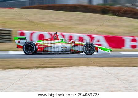 April 05, 2019 - Birmingham, Alabama, USA: PATRICIO O'WARD (R) (31) of Mexico goes through the turns during practice for the Honda Indy Grand Prix of Alabama at Barber Motorsports Park in Birmingham,