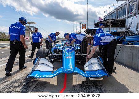 April 05, 2019 - Birmingham, Alabama, USA: FELIX ROSENQVIST (R) (10) of Sweden prepares for practice for the Honda Indy Grand Prix of Alabama at Barber Motorsports Park in Birmingham, Alabama.