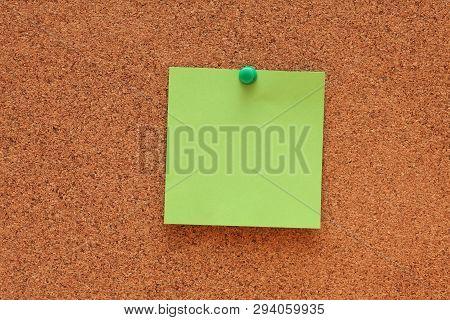 Blank Post It Note On Cork Board (bulletin Board).