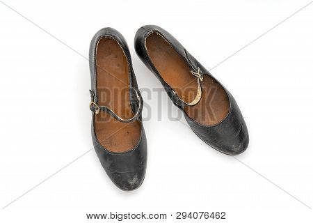 Pair Of Old Black Women's Shoes, Isolated On White
