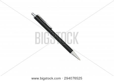 Old Black And Silver Ball Pen, Isolated On White