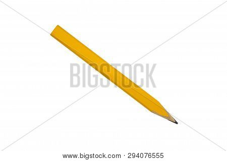 Yellow Carpenter Flat Pencil, Isolated On White