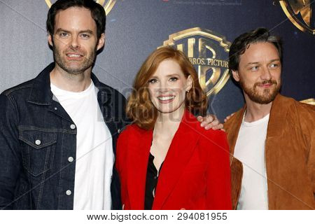 Bill Hader, Jessica Chastain and James McAvoy at the 2019 CinemaCon - Warner Bros. Pictures 'The Big Picture' Presentation held at the Caesars Palace in Las Vegas, USA on April 2, 2019.