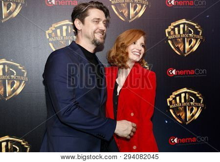 Andy Muschietti and Jessica Chastain at the 2019 CinemaCon - Warner Bros. Pictures 'The Big Picture' Presentation held at the Caesars Palace in Las Vegas, USA on April 2, 2019.