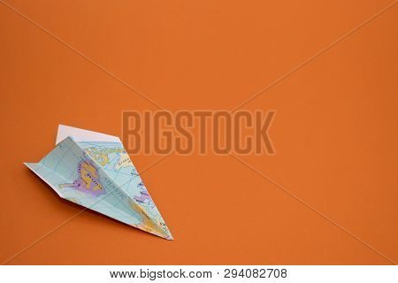 Paper Planes From World Map On Paper Background