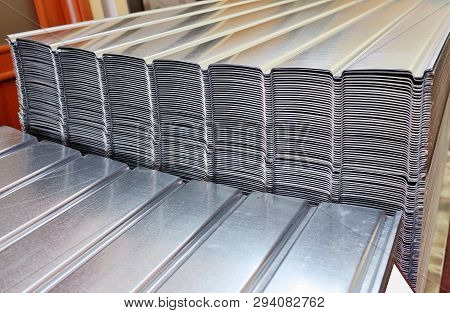 Stack Of Zinc Steel Coils In Warehouse