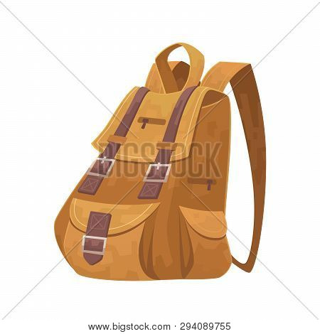 Cartoon Travel Backpack On White Background Vector Isolated