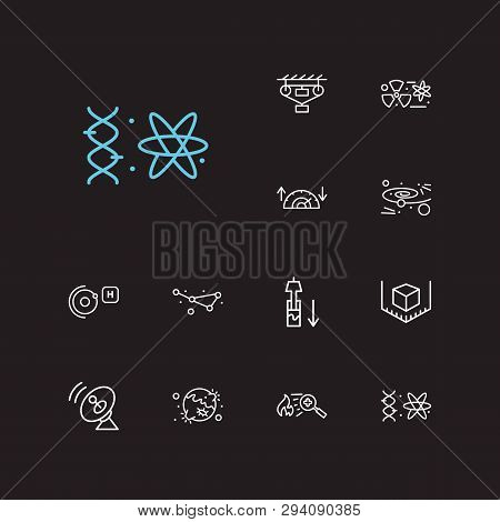 Physics Icons Set. Classical Mechanics And Physics Icons With Cosmology, Constellation And Speed Com
