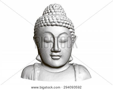 Buddha Statue. Front View. 3d. Polygonal Statue Of Buddha